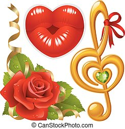 Vector set of Love: corner with red rose, femail lips in the...