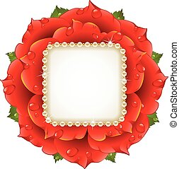 Vector Red Rose circle frame