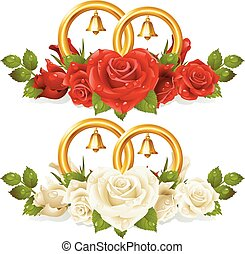 Wedding rings and bunch of roses