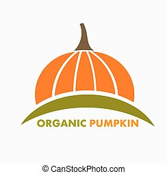 Organic pumpkin logo or icon. Vector illustration
