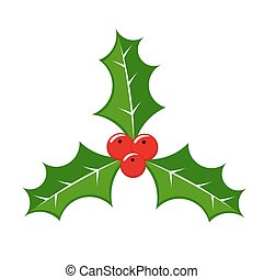 Christmas holly berries symbol. Vector illustration