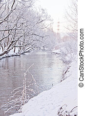 snow covered river banks in winter forest