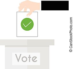 Vector illustration voting concept - hand putting voting paper in the ballot box. Hand casting a vote. Vote ballot in hand with box in flat style. Infographics concept vote pros and cons.