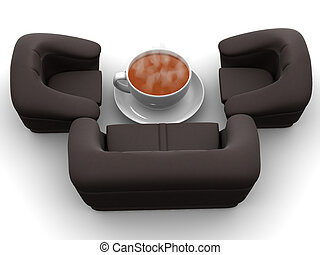 Armchair with cup of coffee