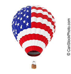 Hot Air Balloon with Flag of United States isolated on white...