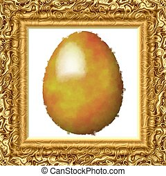 Golden painted egg in frame - Golden painted egg on cloth in...
