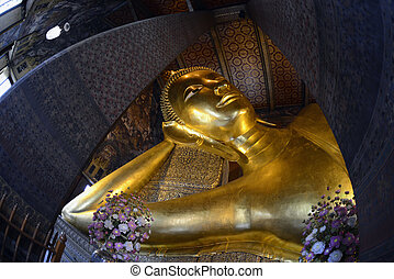 ASIA THAILAND BANGKOK - The golden Buddha at the temple of...