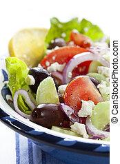 Greek Salad - Bowl of Greek salad, in closeup.