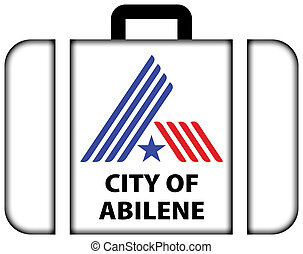Flag of Abilene, Texas, USA. Suitcase icon, travel and...