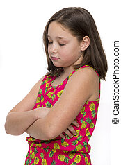Unhappy little girl - Young girl with folded arms looking...