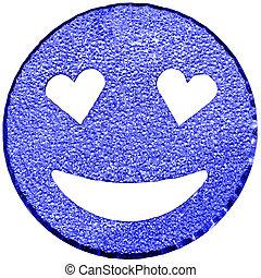 azul, sorrindo, rosto, brilhar, com, heart-shaped, olhos