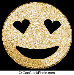 golden smiling face shining with heart-shaped eyes - big...