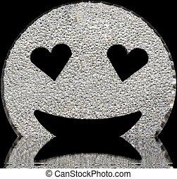 sorrindo, rosto, brilhar, com, heart-shaped, olhos