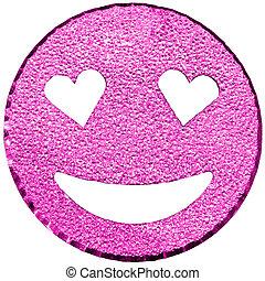 roxo, sorrindo, rosto, brilhar, com, heart-shaped, olhos