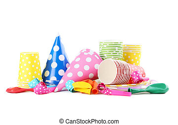 Birthday paper cups with caps, whistles and balloons isolated on a white