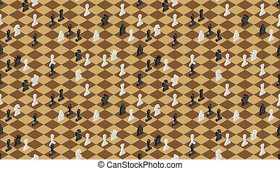 Classical chessboard with chess figures, seamless pattern -...
