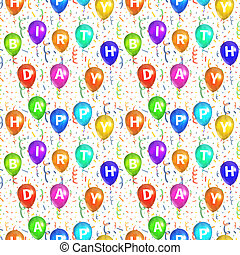 Happy birthday background with balloons and confetti,...