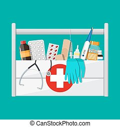 First aid kit with pills and medical devices