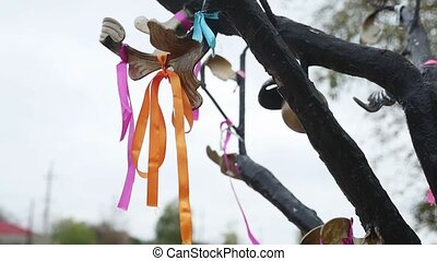 ribbon of fabric tied to the iron tree symbol of love and...
