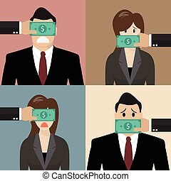 Set of bribery concept. Business people with dollar banknote...