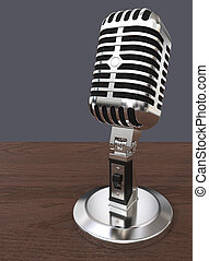 Mic on abstract background. - 3D render of Classic style...