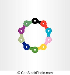 bicycle chain circle logo vector symbol