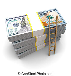 ladder to money - 3d illustration of dollars stack and...