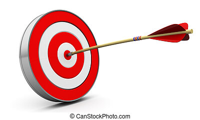 target hit - 3d illustration of target with arrow hit in...