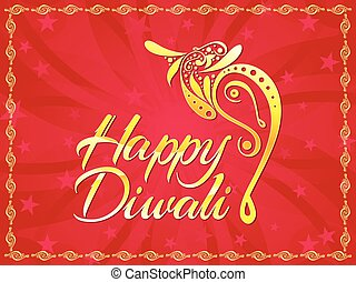 abstract artistic diwali text with ganesha vector...