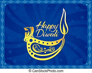 abstract artistic blue diwali background vector illustration