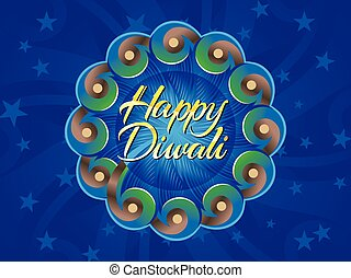 abstract artistic diwali text in circle