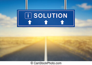 solution words on blue road sign