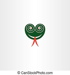 scary snake head with hypnotized eyes vector icon