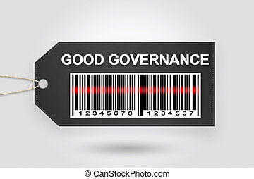 good governance price tag with barcode and grey radial...