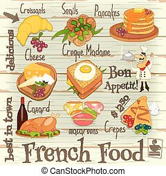 French Food Menu Card with Traditional Meal on on White...