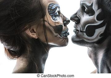 Halloween couple in studio