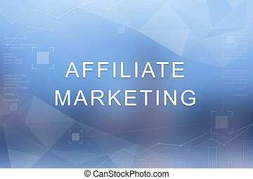 affiliate marketing word on blurred and polygon background