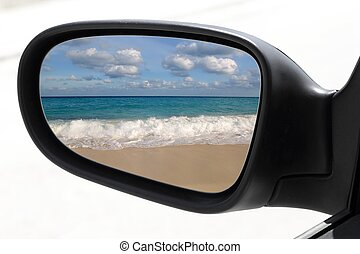 rearview car driving mirror tropical caribbean beach -...