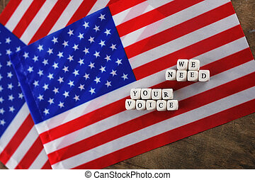 election simbol on usa flag many cubes with letter
