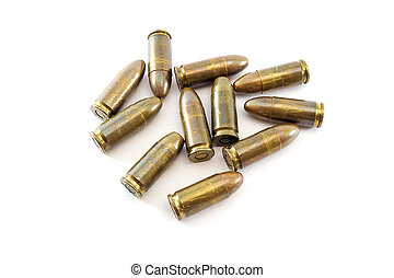 11mm bullets for a short gun. bullets isolated on white...
