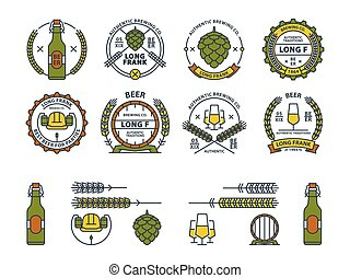 Outline colorful vector beer emblems, symbols, icons, pub labels, badges collection and design elements for your design.