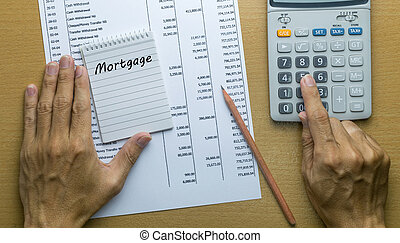 Man Planning monthly Mortgage payment, Finance concept