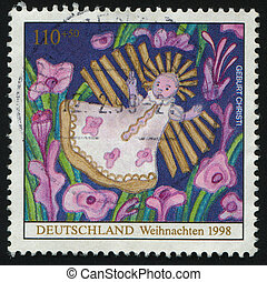 postmark - GERMANY- CIRCA 1998: stamp printed by Germany,...