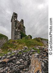Boston Castle in Ireland - Ruin of old Boston Castle in...