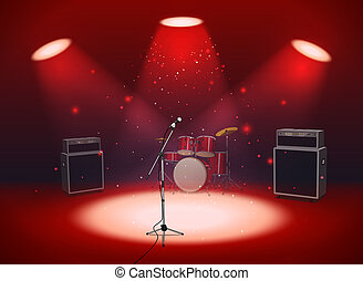 Bright empty scene with microphone, drum set and amplifiers in the light of spotlights