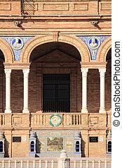 Plaza de Espana in Sevilla - Facade of a baroque palace in...