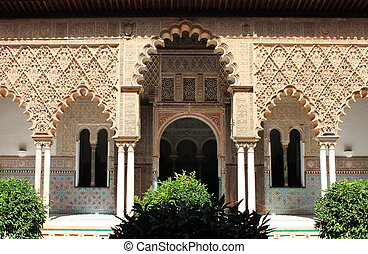 Patio in the Royal Alcazar of Sevilla, Spain