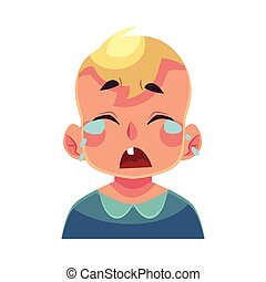 Little boy face, crying facial expression