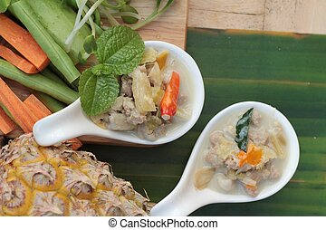 Spicy simmer pineapple with pork and vegetables. - Spicy...