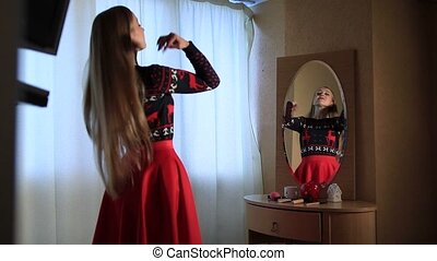 Sensual elegant woman near the mirror - Young beautiful...